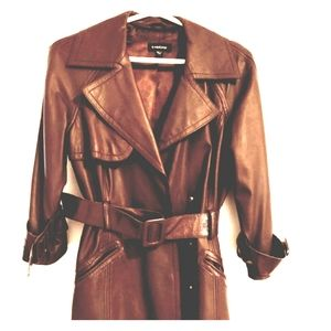 Bebe Genuine Brown Leather Trench Coat Small